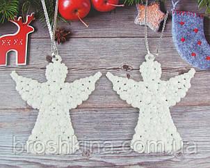Игрушки на елку Ангелы белые 9*9 см пластик/глиттер 10 шт/уп.