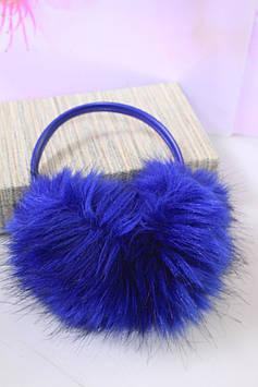 Меховые наушники на обруче синие