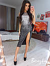 Платье из пайетки градиент с разрезом на ноге и без рукава 68py625Q, фото 2