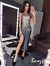 Платье из пайетки градиент с разрезом на ноге и без рукава 68py625Q, фото 3