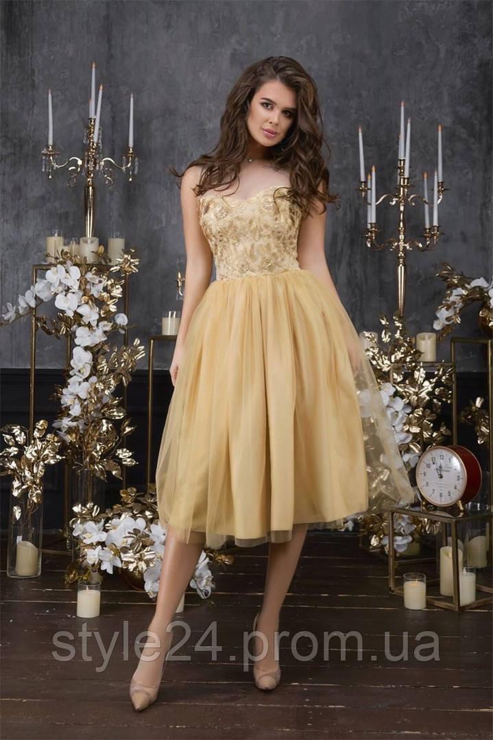Шикарне  жіноче золоте плаття з  гіпюром 3Д .Р-ри 42-46