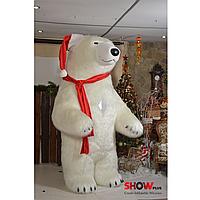 Надувной Костюм ( Пневмокостюм , Пневморобот ) Белый медведь с длинным мехом с ПОДАРКАМИ!