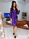 Платье футляр из пайетки с рукавом фонариком и верхом на запах 66py647E, фото 3