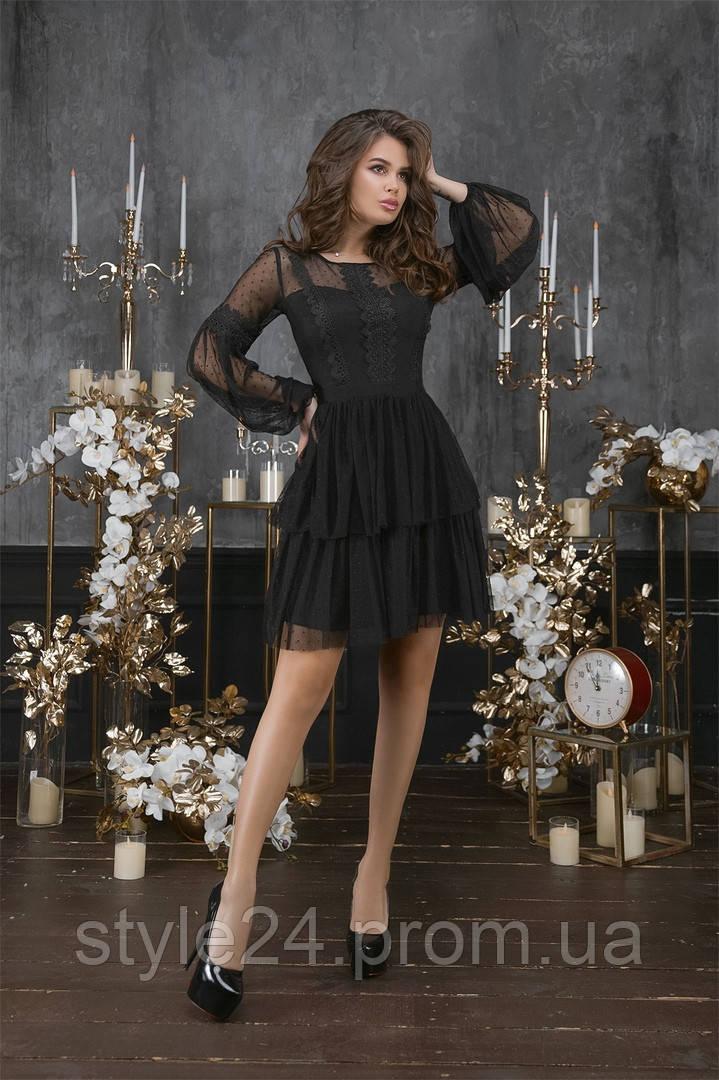 Шикарне  жіноче  плаття з гіпюром та сіткою  .Р-ри 42-46