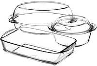 """Набор """"Классик"""" Borcam, стеклянная кастрюля 1.5л, утятница 2л и форма для запекания 34х19см"""
