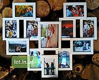 """Мультирамка Lot 812 """"сердце"""", дерево, белый, бесцветный, чёрный, орех, венге, серый."""