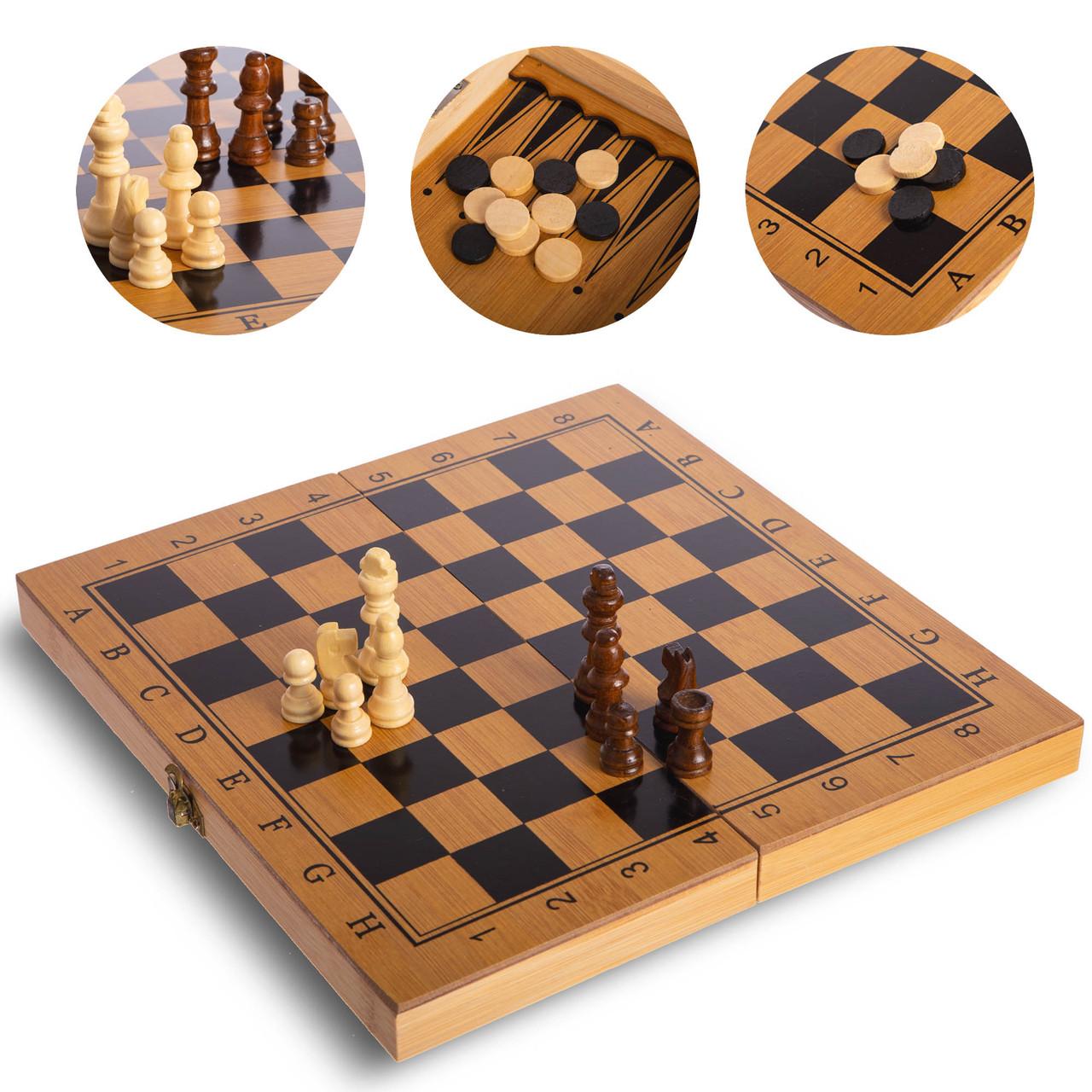 Шахматы, шашки, нарды 3 в 1 бамбуковые (фигуры-дерево, р-р доски 29x29см)
