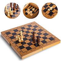 Шахматы, шашки, нарды 3 в 1 бамбуковые (фигуры-дерево, р-р доски 29x29см), фото 1