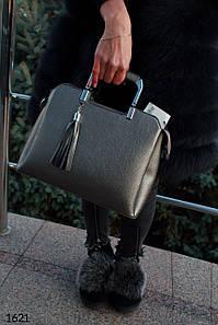 """Сумка """" Емма_Бин""""  Серая сумка. Короткие ручки."""