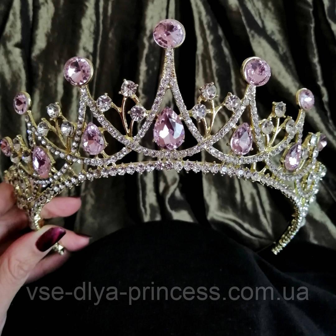 Корона, диадема, тиара под золото с розовыми камнями,  высота 6,5 см.