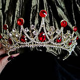 Корона, диадема, тиара под золото с розовыми камнями,  высота 6,5 см., фото 2