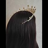 Корона, диадема, тиара под золото с розовыми камнями,  высота 6,5 см., фото 7