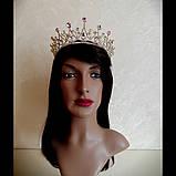 Корона, диадема, тиара под золото с розовыми камнями,  высота 6,5 см., фото 5