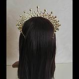 Корона, диадема, тиара под золото с розовыми камнями,  высота 6,5 см., фото 6
