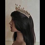 Корона, диадема, тиара под золото с розовыми камнями,  высота 6,5 см., фото 8