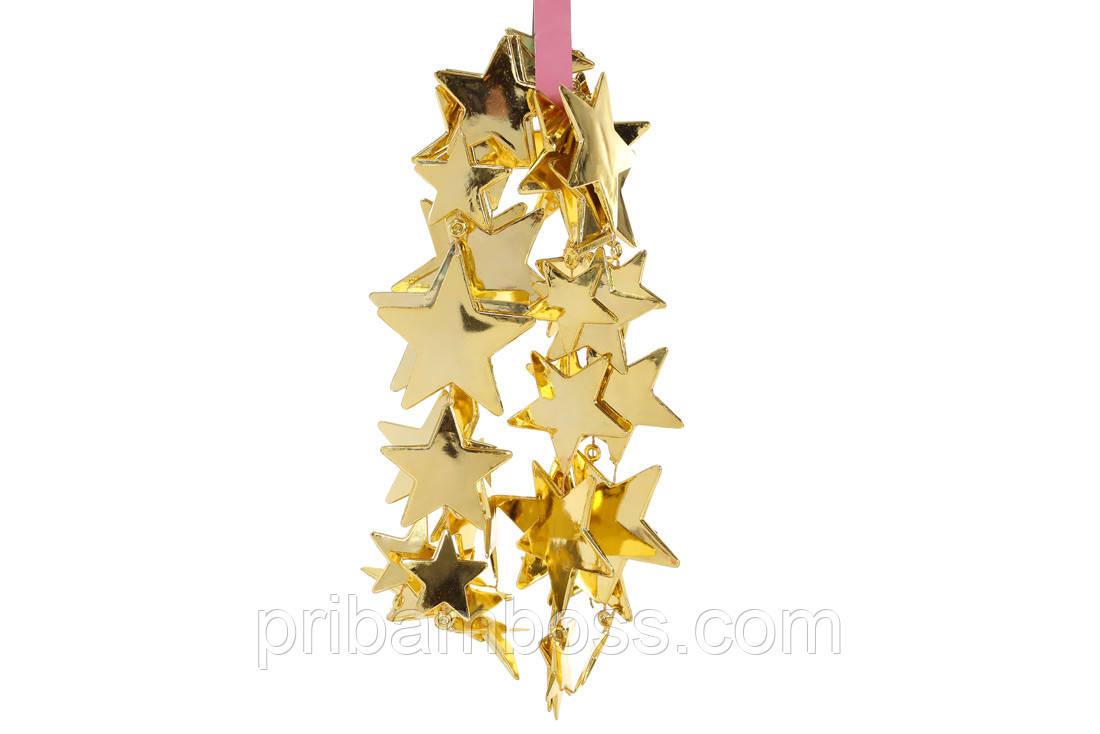 Гирлянда Звезды 1.8м, цвет - золото яркое