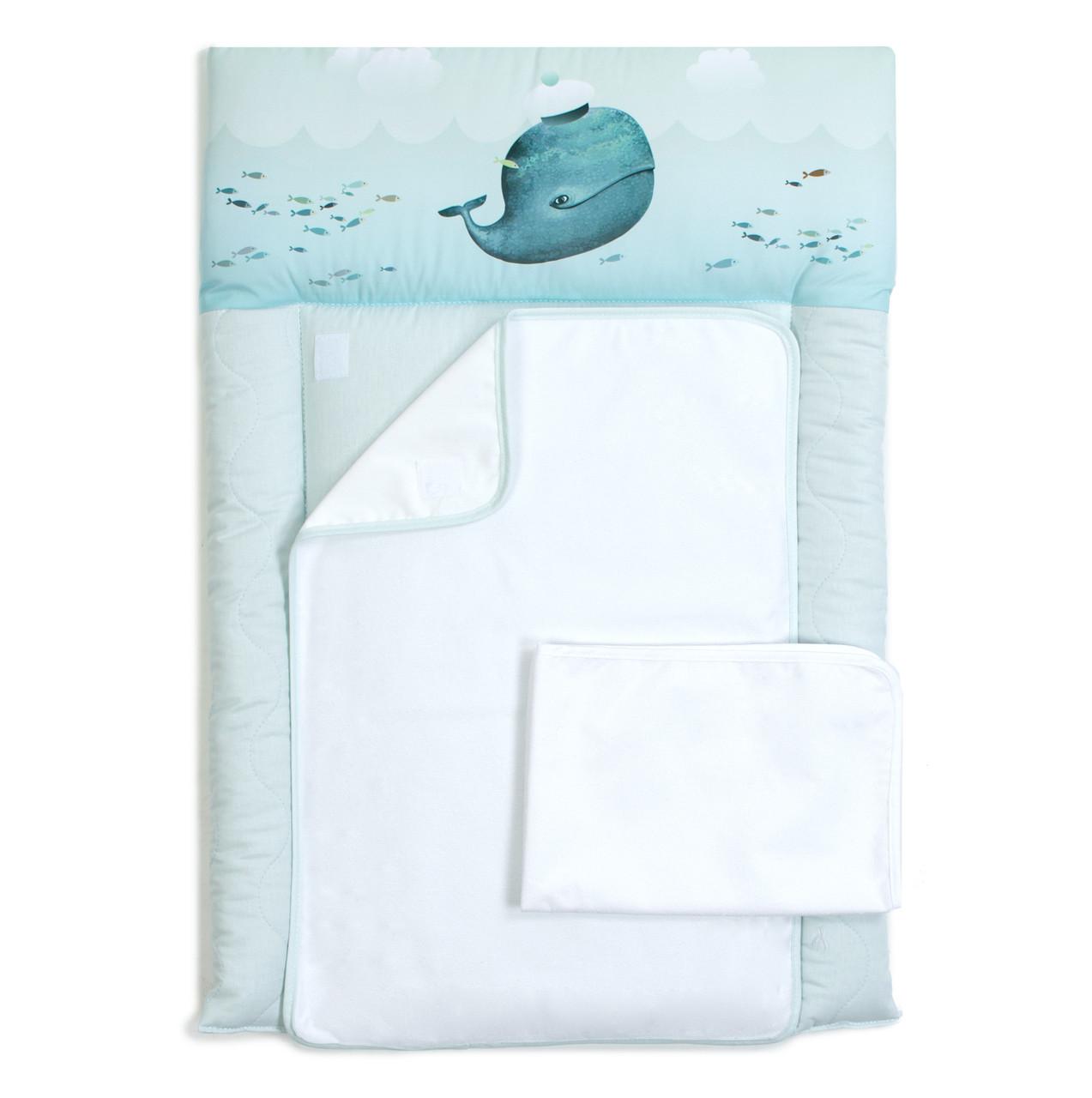 Пеленальный матрас для новорожденных тканевый  Veres Menthol whale голубой