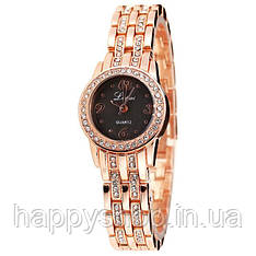 Женские наручные часы Lupai на стальном браслете (Золотистые с черным циферблатом)