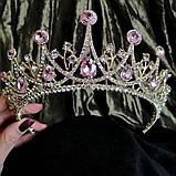 Корона, діадема, тіара під золото з прозорими каменями, висота 6,5 див., фото 2