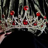 Корона, діадема, тіара під золото з прозорими каменями, висота 6,5 див., фото 3