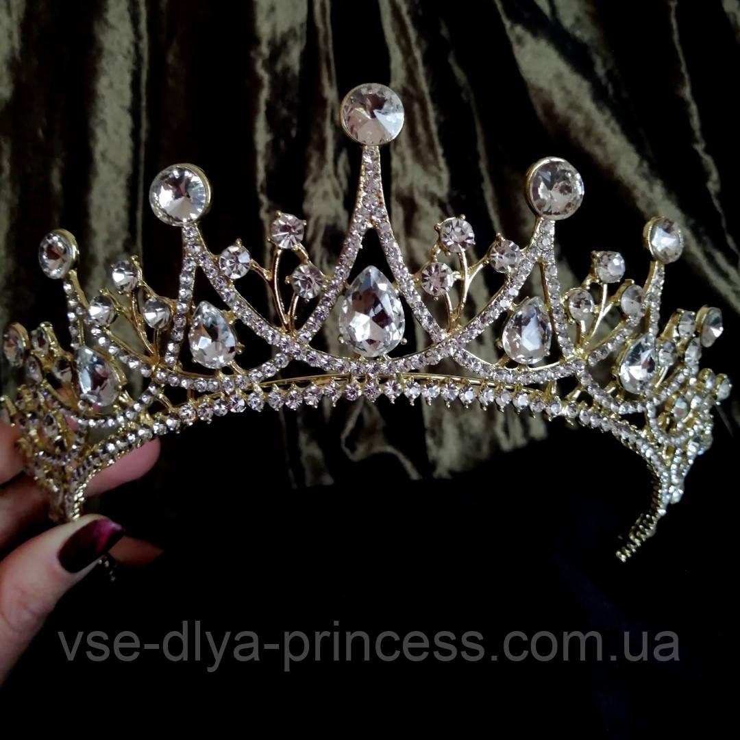Корона, діадема, тіара під золото з прозорими каменями, висота 6,5 див.