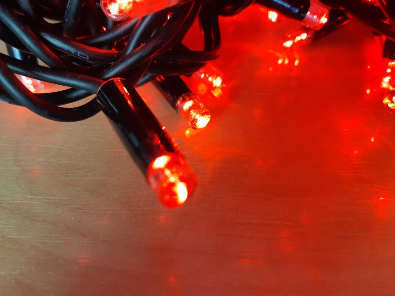 Светодиодная гирлянда нить DELUX String 10м 200 LED красный/черный