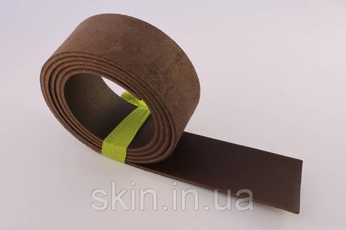 Полоса кожи хромового дубления коричневого цвета, толщина 3.2 мм, арт. СК 1726, фото 2