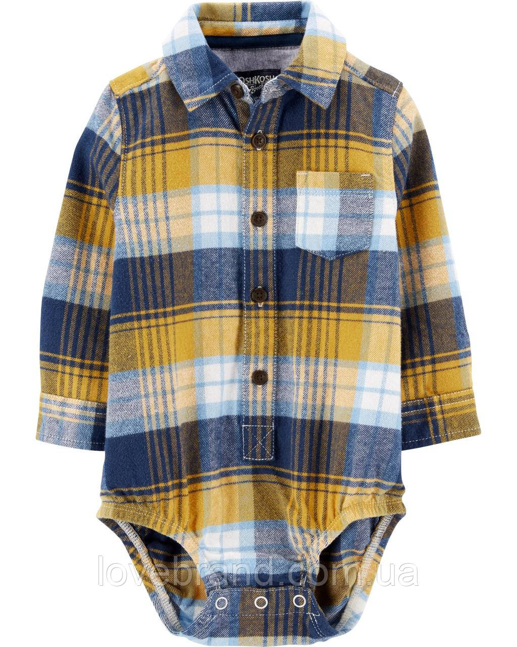 Фланелевая рубашка-боди для мальчика OshKosh (США) горчичная в клеточку 24 мес/83-86 см