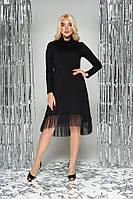 Черное теплое платье-трапеция с воротником хомут
