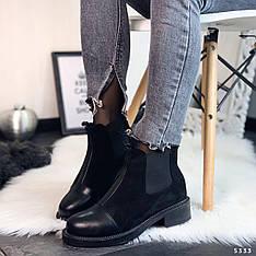 """Ботинки женские зимние, черного цвета из эко замши """"5333"""". Черевики жіночі. Ботинки теплые"""