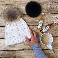 Двойная женская шапка белая с бубоном, теплая, зимняя