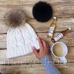 Подвійна жіноча шапка біла з бубоном, тепла, зимова