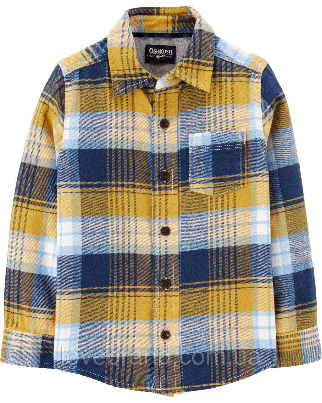 Фланелевая рубашка для мальчика OshKosh (США) горчичная, теплая детская рубашка в клеточку