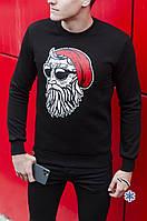"""Очень теплый мужской свитшот с принтом """"Санта с бородой"""" черный"""