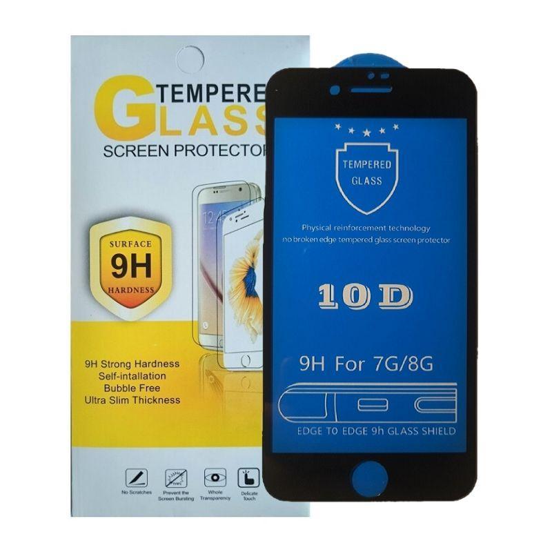 Защитное стекло iPhone 7 / 8 черное 10D на весь экран