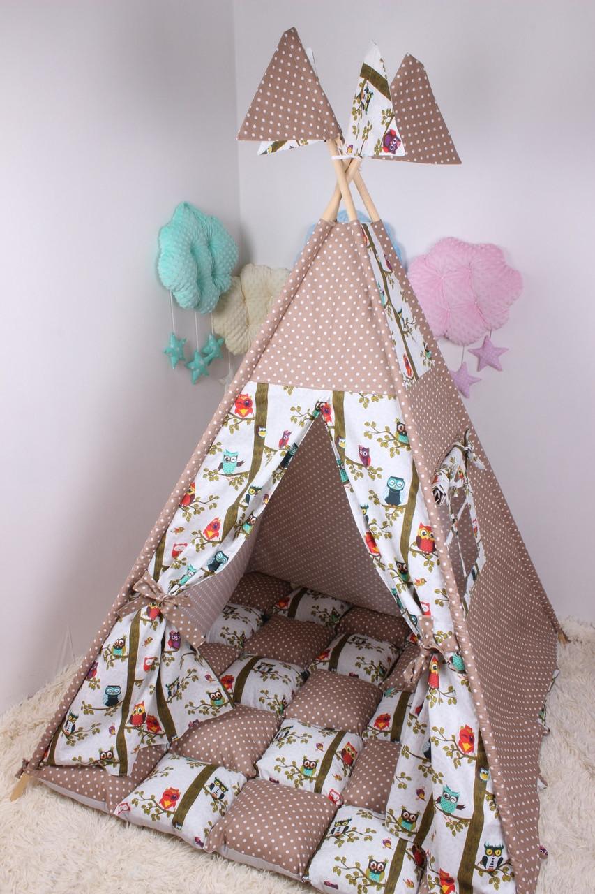 Детская палатка-вигвам с ковриком в Коричневом цвете.125х125х170 см