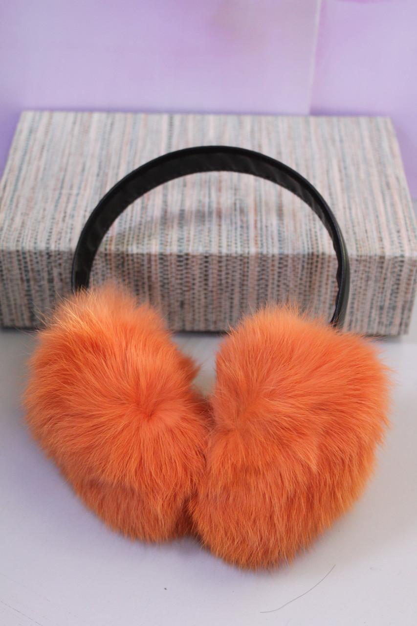 Наушники детские натуральный мех оранжевый