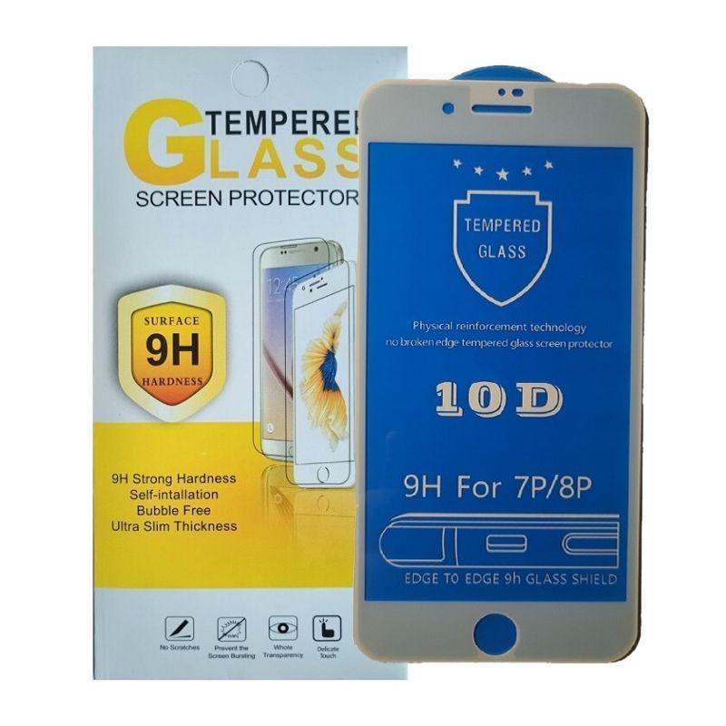 Защитное стекло iPhone 7 Plus / 8 Plus белое 10D на весь экран