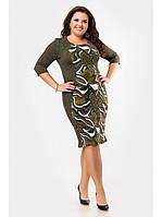 Демисезонное платье цвета хаки с яркой вставкой