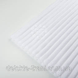 Відріз плюшу в смужку Stripes, колір білий 100*80 см