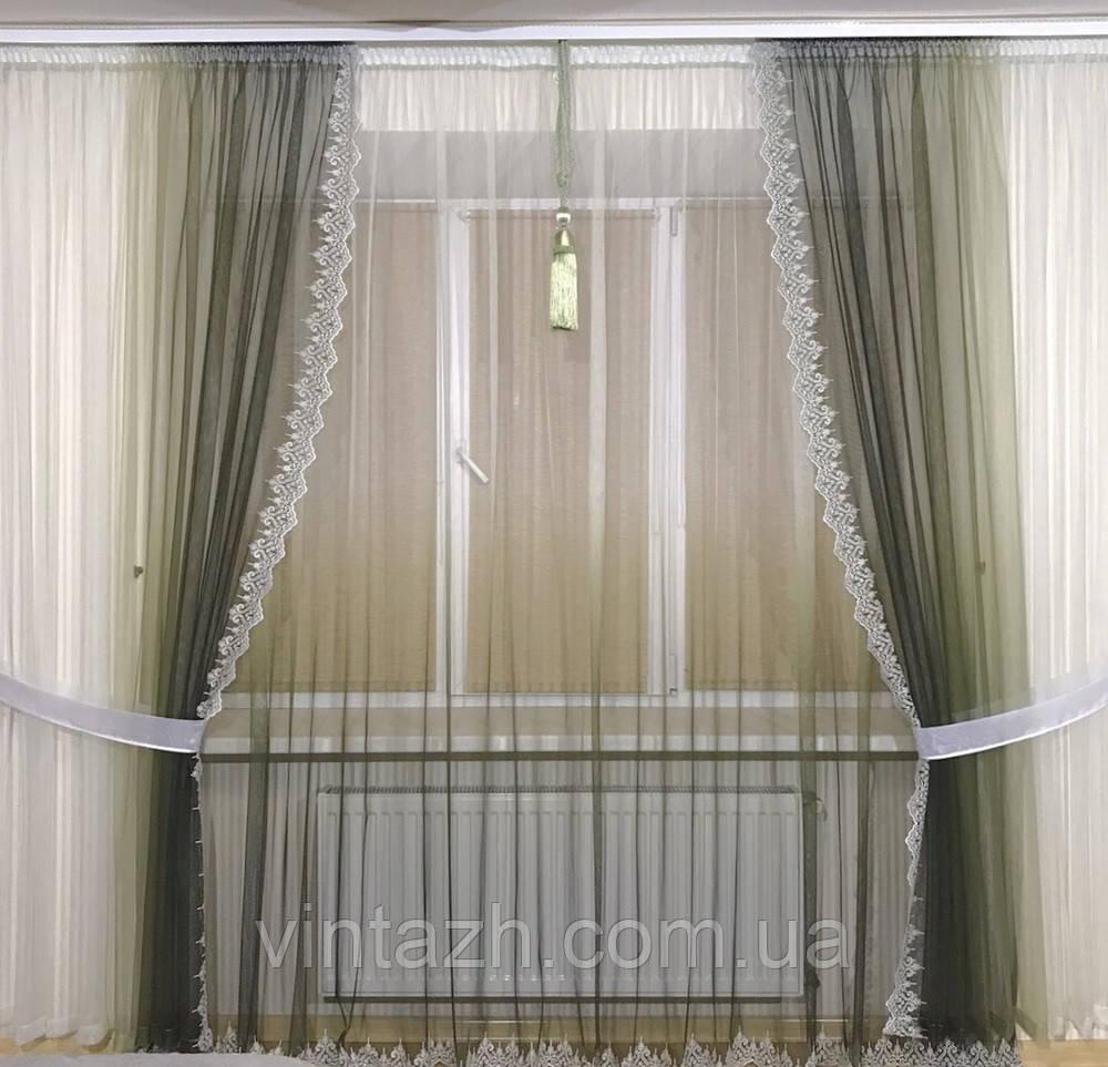 Модный легкий комплект штор  недорого в Украине от производителя