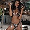 Раздельный купальник леопардовый принт на завязках размер  М, фото 4