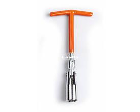 Ключ свічний з шарніром T-подібний 16 мм, довжина 200 мм, посилений LA SPW016 Lavita