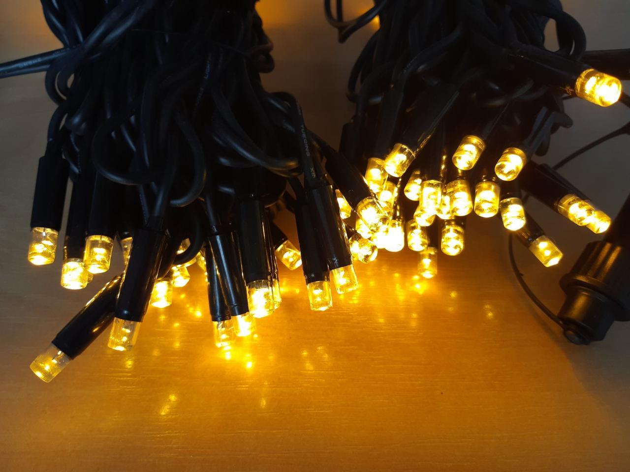 Светодиодная гирлянда нить DELUX String Flash 10м 100 LED желтый/черный