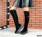Зимние женские ботфорты черного цвета, натуральная замша 40 ПОСЛЕДНИЕ РАЗМЕРЫ, фото 4