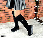 Зимние женские ботфорты черного цвета, натуральная замша 40 ПОСЛЕДНИЕ РАЗМЕРЫ, фото 3