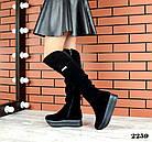 Зимние женские ботфорты черного цвета, натуральная замша 40 ПОСЛЕДНИЕ РАЗМЕРЫ, фото 2