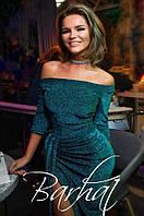 """Женское вечернее платье с разрезом """"Medea"""" - люрекс / размер 42,46,48 / цвет изумрудный"""
