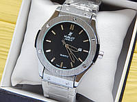 Мужские наручные часы копия Hublot (Хаблот) на металлическом браслете, серебристые с черным циферблатом, CW503