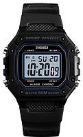 Skmei 1496 черные с белым экраном мужские спортивные  часы, фото 1